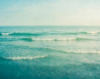 Ocean Fine Art photograph Large wall art  square, Zen sea waves print dreamy photo modern blue photograph green nautical aqua