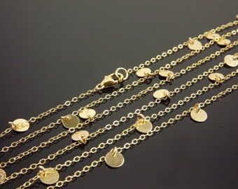 Courtney Cox Disc Necklace Cougar Town Long 14k Solid Gold Necklace, Celebrity Inspired, Small, Tiny Disc Necklace