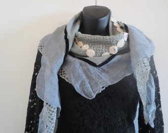 Triangle Lace Scarves with decorated Flowers and Chiffon Layer Grey Color