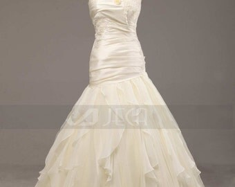 Chic Taffeta Wedding Gown Modern Wedding Dress Dark Ivory Wedding Dress Abailable in Plus Sizes W893