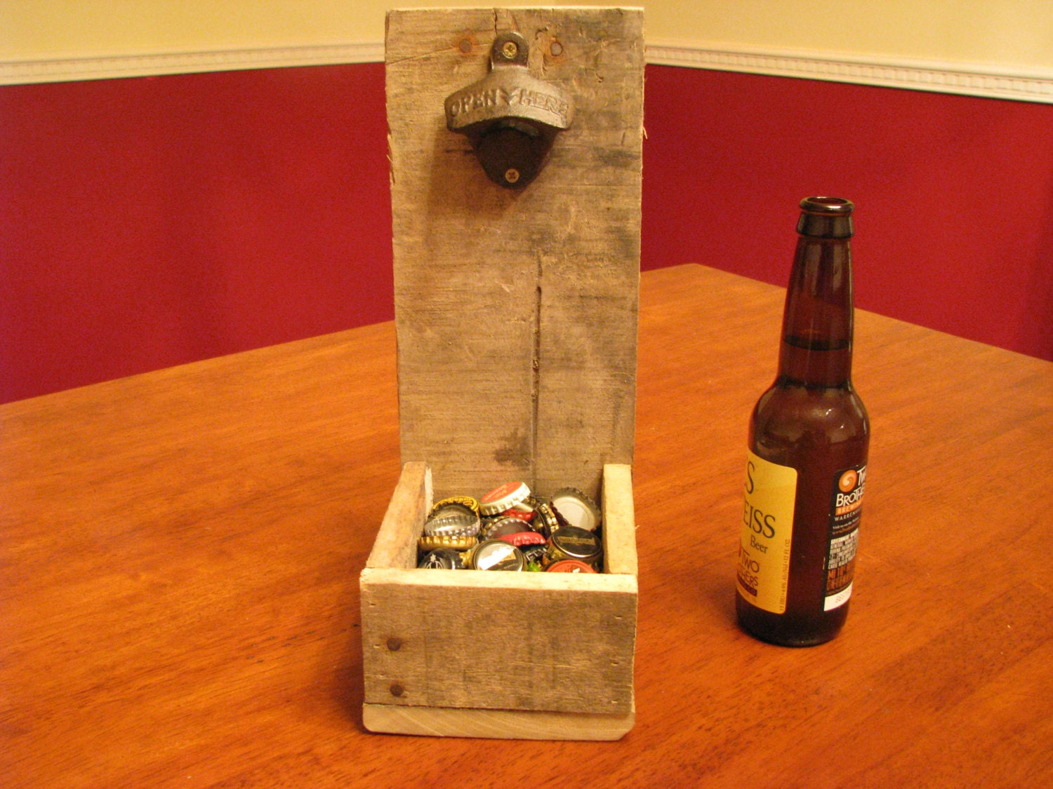 Rustic table top beer bottle opener and cap catcher for How to make a table out of bottle caps