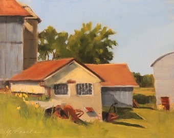 "Original oil landscape farm painting painted outside ""en plein air"",  impressionistic, old milk house, barn, yellow flowers 11"" x 14"""