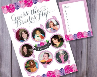 bridal shower games, guess the bride's age, wedding shower games, shower printables, shower guessing game, baby shower game, bridal