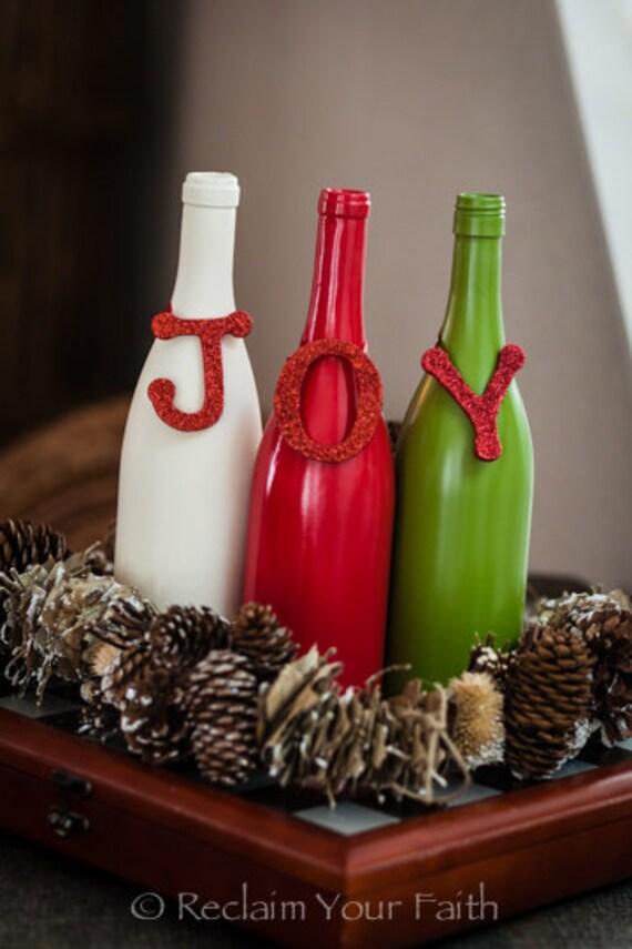 Items similar to joy wine bottle set on etsy for Christmas bottle decoration ideas