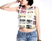 Compact Cassette Tape Rock Pop Art Crop Top Tank Shirt Cropped Tops S M L