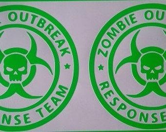 "Zombie Outbreak Response Team - Pair of 4"" Decals in Neon Green Vinyl"