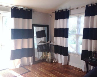 Custom Horizontal Wide Striped Curtain Panels Set Of 2