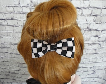 Black and White Checks Fabric Hair Bow  Alligator / Barrette For Girls Hair Accessory For All Hair Types