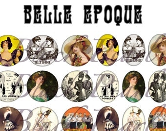 Belle Epoque - Page digital images for cabochons - 60 images