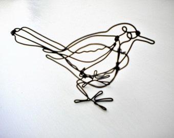 Bird--3-D  steel wire sculpture