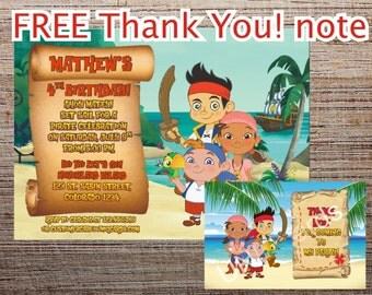 JAKE and the neverland Pirates invitation FREE Thank You! note - Printable Jake and the neverland pirates invitation