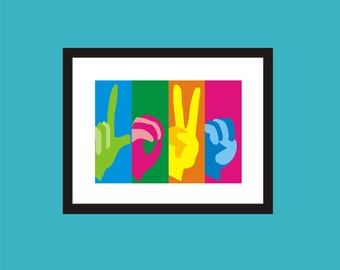 LOVE - Pop  Art Original Print by C Wiedenheft  comes with a white mat and ready to frame.