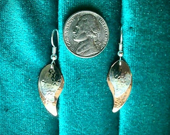 Sterling silver and copper earrings leaf shape hammered