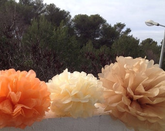 "3 Tissue Paper Pom Pom Bridal Shower Decor Tissue Pom Pom Paper Decorations Tissue Paper Flowers Wedding Decoration Paper Pom 10""12""14"""