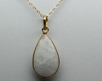 Rainbow Moonstone Bezel Necklace, Gemstone Necklace, June Birthstone Necklace, Teardrop Moonstone Necklace, Bezel Necklace, Vermeil Necklace