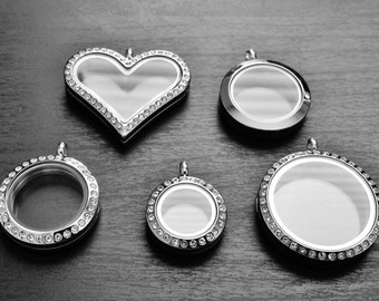 Silver Stainless Steel Floating Locket-Choose One-Gift Ideas for Women