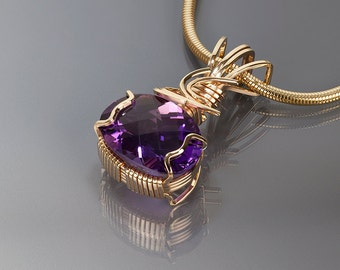 Amethyst gold pendant, Amethyst, Wire wrapped jewelry, Gold, Gem stone,Art,Handmade jewelry, Wire wrapped pendant,February birthstone,Purple