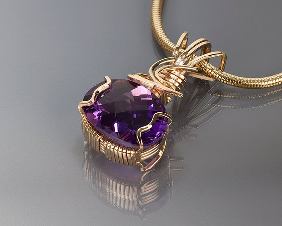 Amethyst gold pendant Amethyst Wire wrapped jewelry Gold