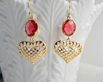 Red Heart Earrings Clip or Pierced Gold Filigree Crystal Dangle Earrings Modern Trendy Screw Back Clips