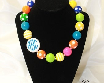 Personalized Monogram Chunky Bubblegum Bead Necklace