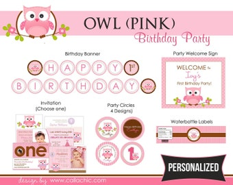 Owl Birthday Party Package (Pink) PRINTABLE DIY for 1st Birthday Girls PERSONALIZED
