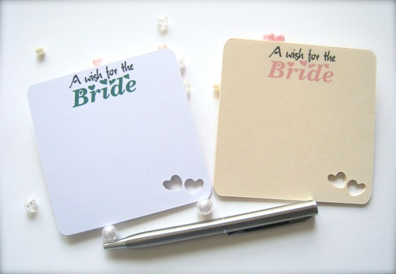 Wishes for the bride cards, wedding wish cards, bridal shower decor, bridal shower comment cards - 25 count
