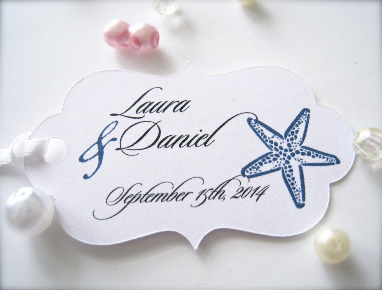 Wedding Favor Tags Beach : Wedding favor tags beach wedding tags starfish favor tags