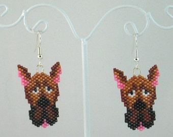 Beaded Great Dane Earrings