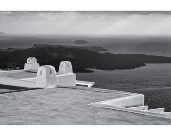 Rooftops #1, Santorini: A Black and White Photograph 10x15