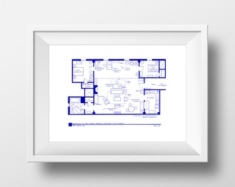 How I Met Your Mother Apartment - Famous TV Show Floor Plan - BluePrint Poster Art for Residence of Ted Mosby  - Wall Decor