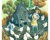 Feeding the Hens - chicken pecking corn on the farm