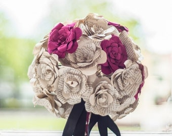 Customizable Paper Wedding bouquet, Alternative bouquet, Book page bouquet, Bridal bouquet, Wedding bouquet, Paper flowers