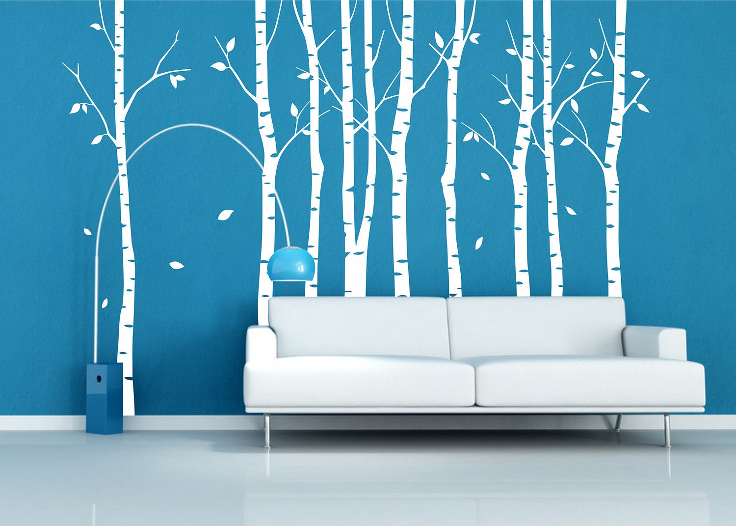 Tree wall decal 9 birch trees decals forest wall by for Birch tree wall mural