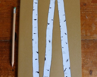 Plain, Large Moleskine Notebook, Birch Trees