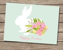 5x7 Easter card print, DIY Easter card, printable Easter decor, mint green easter decor,floral bunny, nursery Easter decor-DIGITAL PRINTABLE