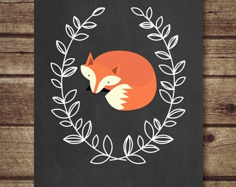 Fox Printable -  Fox nursery Decor, nursery printable, chalkboard printable fox print, fox art print with laurel wreath-INSTANT DOWNLOAD