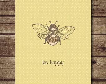 Yellow nursery decor  - bee print -  nursery wall art - be happy quote art print - bug art printable -  INSTANT DOWNDLOAD
