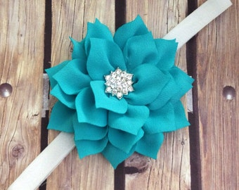 Teal headband, teal and white headband, flower headband, halo, vintage headband, rhinestone headband, spring headband, summer headband