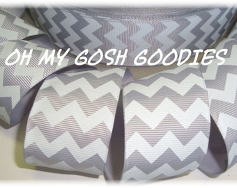 "GRAY WHITE CHEVRON grosgrain ribbon - 1.5"", 2 1/4"", 3""  widths - 5 Yards - Oh My Gosh Goodies Ribbon"