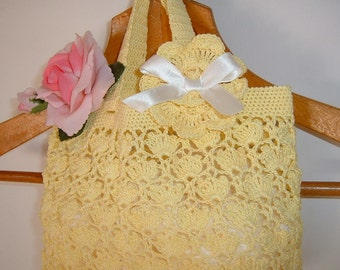 Crochet baby bag. Yellow cotton bag. Romantic, feminine style. Yellow bag for baby. Yellow crochet cotton