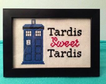 Finished Cross Stitch.  Doctor Who, Tardis Sweet Tardis.