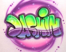 Personalized Custom Airbrushed Graffiti T-Shirt; We can Paint  ANY Name, or Colors!