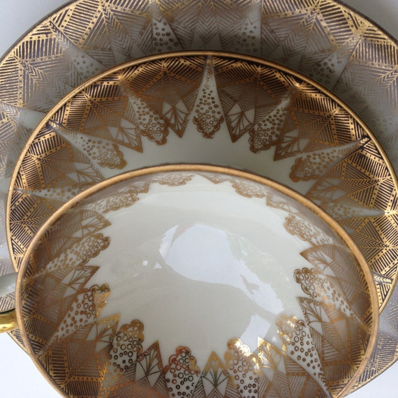 vintage bavaria elfenbein porzellan porcelain three piece cup. Black Bedroom Furniture Sets. Home Design Ideas