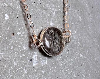 Delicate Silver Gemstone Necklace Dainty Rutilated Quartz Necklace Simple Necklace on Sterling Chain // Dainty Necklace Gift for Mom Gifts