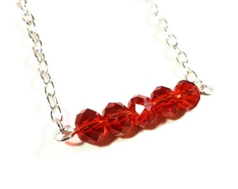 Beaded Bar Necklace, Ruby Red Crystal Bead Necklace on a Silver Metal Chain, July Birthstone Necklace, Women's Jewelry, Beadwork Necklace