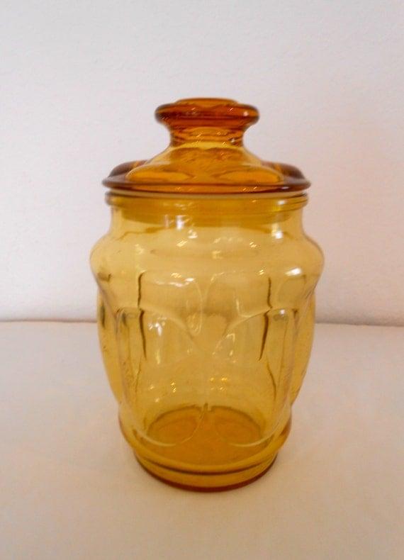 Vintage Amber Glass Cookie Jar
