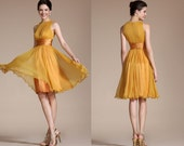 New Yellow Sleeveless Short Dress Cocktail Dress (C04111703)