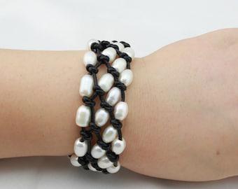 ETS-B0050 leather pearl bracelet, freshwater pearl bracelet,3 strand bracelet, 1 piece