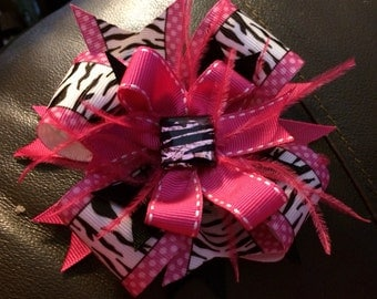 Zebra Print Boutique Style Bow, Pink and Black
