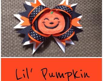 Hallowen Hair Bow, Halloween Pumpkin Bow